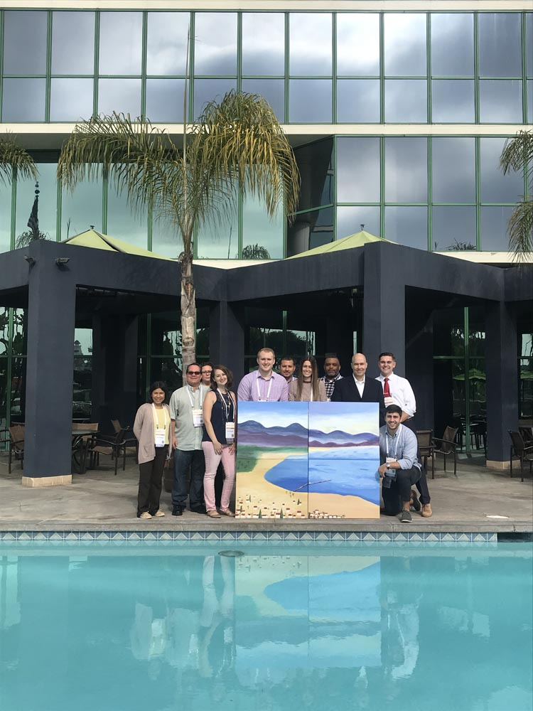 A company using one of our corporate painting party packages in Los Angeles, CA